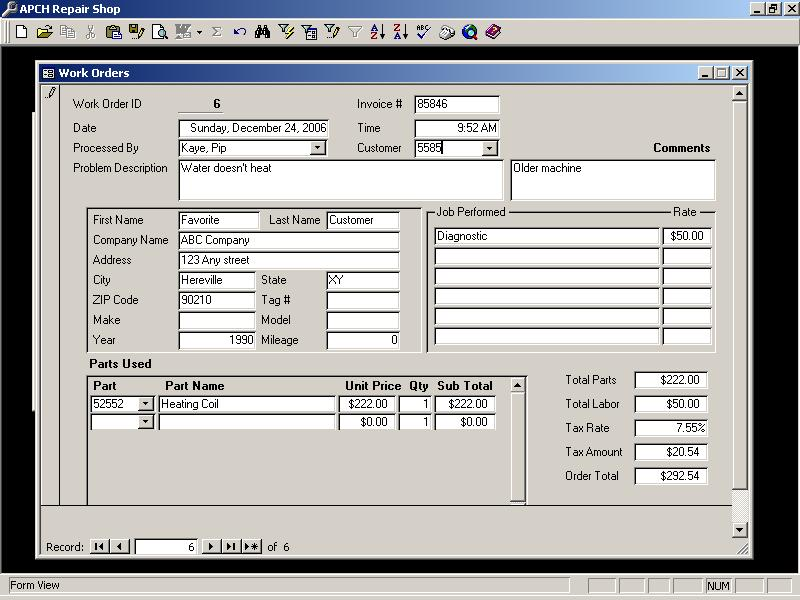 Andys Access SQL Database Help Work Order Repair Shop Jpg